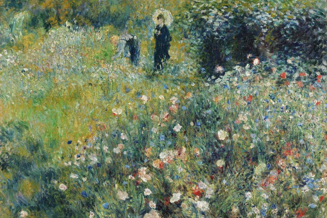 Mujer con sombrilla en un jardín (1875) por Pierre-Auguste Renoir.